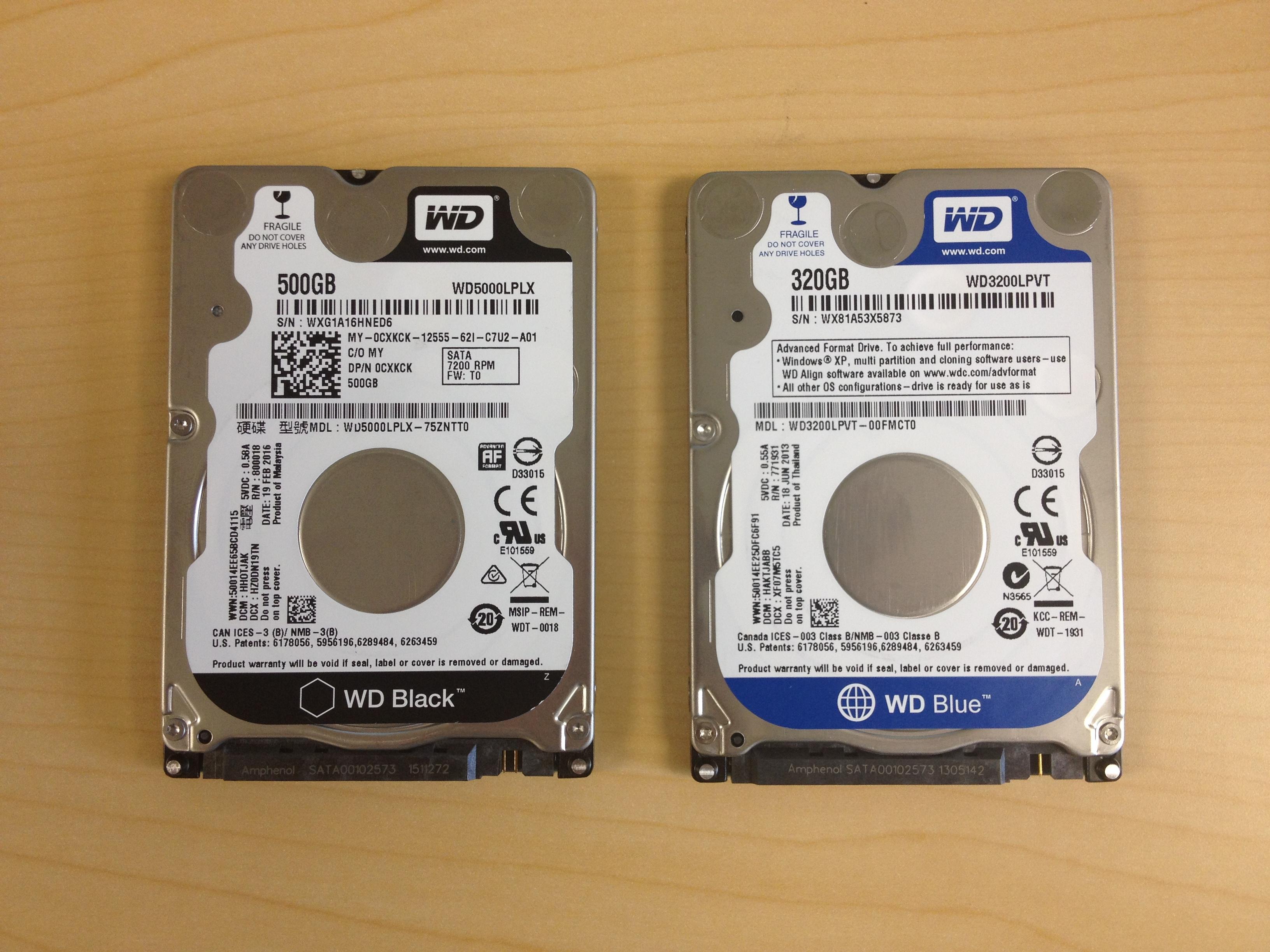 "Western Digital 2.5"" Laptop Hard Drives WD5000LPLX and WD3200LPVT"